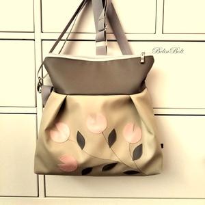 3in1 drapp tulipános táska, Táska & Tok, Kézitáska & válltáska, Válltáska, Textilbőr táska.  szürke és drapp színben. 30 cm széles felül, 35 cm magas. Cipzáras. Bélése mintás...., Meska