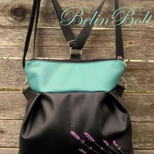 Levendulás hátizsák 3in1 táska , Táska & Tok, Variálható táska, Textilbőr táska. világosKék és fekete színben. 30 cm széles felül, 35 cm magas. Cipzáras. Bélése kék..., Meska