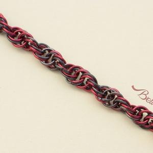 Dupla - hélix karkötő, piros-fekete, Ékszer, Bokalánc, lábgyűrű, Karkötő, Esküvő, Ékszerkészítés, Fémmegmunkálás, Különleges csavarodott mintájú rózsaszín-fekete színű karkötő. \n\nKétféleképpen hordható, a csavart m..., Meska
