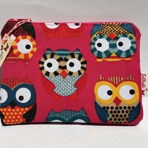 Bagoly mintás textil pénztárca gyerekeknek - pink - Meska.hu