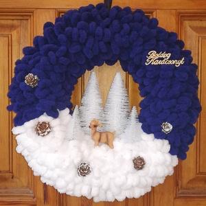 Téli, karácsonyi ajtódísz, kopogtató - őzikés, kék-fehér (BellestiDesign) - Meska.hu