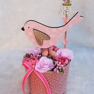 Tavaszi, nyári, húsvéti asztaldísz - rózsaszín madárkás, Otthon & Lakás, Dekoráció, Asztaldísz, Mindenmás, Virágkötés, Meska