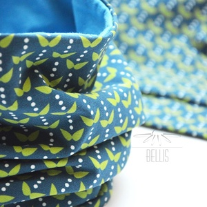 Kék alapon leveles sapka-sál szett gyermekeknek, Ruha & Divat, Sál, Sapka, Kendő, Sapka & Sál szett, Varrás, Szeszélyes tavaszra felkészülve ajánljuk kék alapon zöld levélkés pamut jersey  csősálunkat sapkával..., Meska
