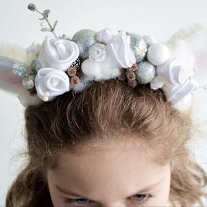 Jegesmackó lány , Ruha & Divat, Jelmez & Álarc, Virágkötés, Varrás, Kedves lány mackó fejdísz egy kis csillogással kiegészítve. Ezekhez a kiegészítőkhöz elegendő jelkép..., Meska