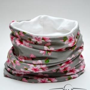 Cseresznyevirágos női tavaszi csősál, Ruha & Divat, Női ruha, Varrás, Szürke alapon rózsaszín cseresznyevirágos női csősálunk finom tapintású kevert szálas felső részből ..., Meska