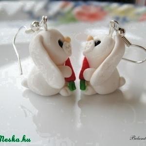 Fehér nyuszi-fülbevaló (Belundika) - Meska.hu