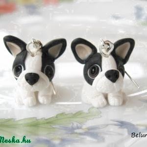 Francia Bulldog  fülbevaló, Ékszer, Fülbevaló, Gyurma, Kicsi Francia Bulldog kutyusokat készítettem.Nikkelmentes fülbevaló alapra szereltem.\n\nHa más színbe..., Meska