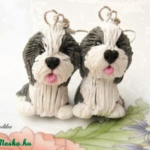 Bearded Collie-fülbevaló, Ékszer, Fülbevaló, Gyurma, Kicsi (kb.2-2.5 cm) Bearded Collie kutyusokat készítettem,nikkelmentes fülbevaló alapra szereltem.\n\n..., Meska