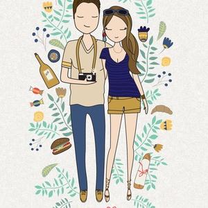Családi portré grafika, személyre szóló családi illusztráció, egyedi családi grafika személyre szabva, Képzőművészet, Otthon & lakás, Illusztráció, Grafika, Vegyes technika, Festészet, Fotó, grafika, rajz, illusztráció, Családi portré grafika, személyre szóló családi illusztráció, egyedi családi grafika személyre szabv..., Meska