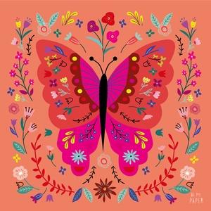 """Pillangó narancsos háttérrel illusztráció, print, poszter, falikép, dekoráció, Dekoráció, Otthon & lakás, Kép, Képzőművészet, Illusztráció, Fotó, grafika, rajz, illusztráció, \""""Pillangó narancsos háttérrel\"""" saját tervezésű illusztráció, print, poszter, falikép, dekoráció\n\nKép..., Meska"""