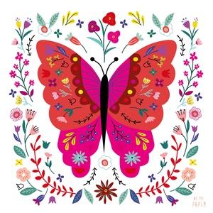 """Pillangó illusztráció, print, poszter, falikép, dekoráció, Képzőművészet, Otthon & lakás, Illusztráció, Dekoráció, Kép, Fotó, grafika, rajz, illusztráció, \""""Pillangó\"""" saját tervezésű illusztráció, print, poszter, falikép, dekoráció\n\nKépméret: 23x23 cm \nPap..., Meska"""
