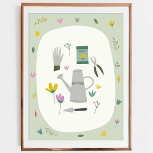 Kertészkedés-illusztráció, print, poszter, falikép, dekoráció, Dekoráció, Otthon & lakás, Kép, Képzőművészet, Illusztráció, Fotó, grafika, rajz, illusztráció, Kertészkedés-saját tervezésű illusztráció, print, poszter, falikép, dekoráció\n\nKépméret: A/4\nNyomat:..., Meska
