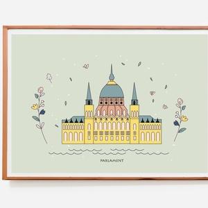"""Parlament- illusztráció, print, poszter, falikép, dekoráció, Otthon & lakás, Képzőművészet, Illusztráció, Fotó, grafika, rajz, illusztráció, \""""Parlament\"""" saját tervezésű illusztráció, print, poszter, falikép, dekoráció\n\n\nKépméret: A/4\nPapír m..., Meska"""
