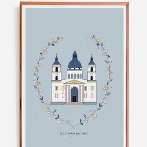 """Bazilika-nyomat, illusztráció, print, poszter, falikép, dekoráció, Otthon & lakás, Képzőművészet, Illusztráció, Fotó, grafika, rajz, illusztráció, \""""Bazilika\"""" saját tervezésű illusztráció, print, poszter, falikép, dekoráció\n\nKépméret: A/4\nPapír mér..., Meska"""