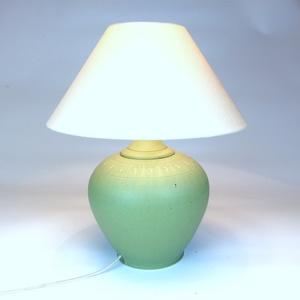 Asztali lámpa - Kerámia asztali lámpa, Asztali lámpa, Lámpa, Otthon & Lakás, Kerámia, Kőcserépből készült kerámia testű asztali lámpa. Kézzel korongozott, figurális frízzel díszített. Zö..., Meska
