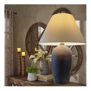 Extra nagy rusztikus asztali lámpa - Kerámia asztali lámpa, Otthon & Lakás, Lámpa, Asztali lámpa, Kerámia, Antik, vintage kerámia alapra készített asztali lámpa. A test korongozott, magas tűzön égetett kerám..., Meska