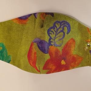 Ünnepi maszk, tavaszi gitáros maszk, alkalmi selyem maszk, zöld női arcmaszk, 2 oldalas színes maszk, maszk koncertre - Meska.hu