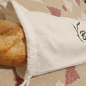Textil baguette zsák felirattal, vállra akasztható pamut baguette zsák, fehér baguette zsák - Meska.hu
