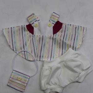 Babaruha-csíkos kantáros ruha szett (baba nélkül), Játék & Gyerek, Baba & babaház, Öltöztethető baba, 45 cm-es öltöztethető textil cica babára való ruha: csíkos szövött kantáros szoknya ridiküllel+fehér..., Meska