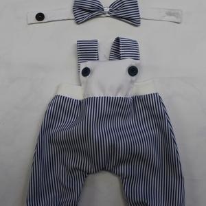 Babaruha-csíkos kantáros nadrág (baba nélkül), Játék & Gyerek, Baba & babaház, Öltöztethető baba, 45 cm-es öltöztethető textil cica babára való ruha: sötétkék-fehér csíkos szövött kantáros nadrág 2 ..., Meska