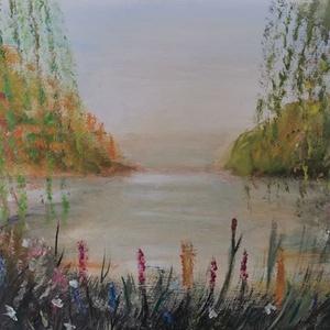 Nyár a tónál, festmény, Festmény vegyes technika, Festmény, Művészet, Festészet, Eladó Nyár a tónál című 30x60 cm méretű temperával készült festmény, feszített vászonra...., Meska