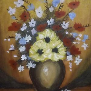 Mezei virágok, akrilfestmény, Akril, Festmény, Művészet, Festészet, Mezei virágok, akrilfestékkel készült 30x40 cm méretű festmény, kasírozott vászon, fehér keretben...., Meska