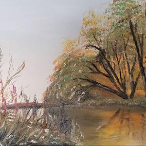 Alkony a folyón, olajfestmény, Olajfestmény, Festmény, Művészet, Festészet, Alkony a folyón, 30x50 cm méretű olajfestmény, feszített vászon., Meska
