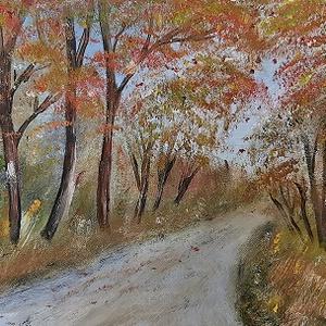 Őszi fák, olajfestmény, Olajfestmény, Festmény, Művészet, Festészet, Őszi fák, 25x60 cm méretű olajfestmény., Meska