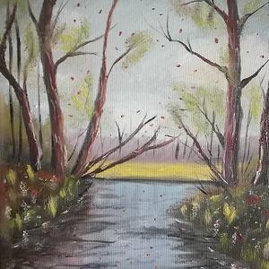 Erdei patak, olajfestmény, Olajfestmény, Festmény, Művészet, Festészet, Erdei patak, 24x30 cm méretű olajfestmény, feszített vászon., Meska