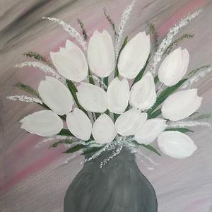 Fehér tulipánok, olajfestmény, Olajfestmény, Festmény, Művészet, Festészet, Fehér tulipánok, 40x50 cm méretű olajfestmény, feszített vászon., Meska