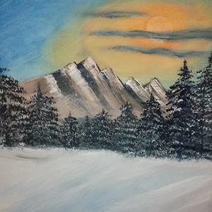 Téli reggel, akrilfestmény, Akril, Festmény, Művészet, Festészet, Téli reggel, 40x40 cm méretű, akril festékkel készült festmény, Meska