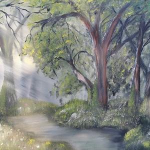 Az erdő mélyén, olajfestmény, Művészet, Festmény, Olajfestmény, Festészet, Az erdő mélyén, 30x40 cm méretű olajfestmény, feszített vászon., Meska