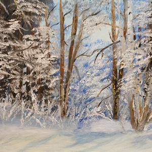 Téli erdő, olajfestmény, Művészet, Festmény, Olajfestmény, Festészet, Téli erdő című,  30x40 cm méretű olajfestmény, kasírozott vászonra., Meska