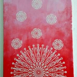 Mandalás kép piros (festmény), Otthon & Lakás, Mandala, Dekoráció, Festészet, Festett tárgyak, Meska