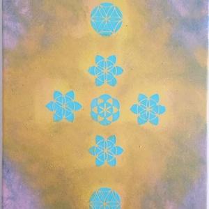 Mandalás kép kereszttel, Otthon & Lakás, Mandala, Dekoráció, Festészet, Festett tárgyak, Meska