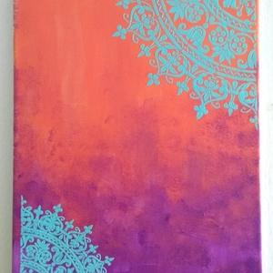 Mandalás kép (narancs-lila festmény), Dekoráció, Otthon & lakás, Kép, Lakberendezés, Falikép, Festett tárgyak, Festészet, 30*40 cm vászonra készített festményem, melyre mandalát vittem el sablon segítségével, 3D hatású eff..., Meska