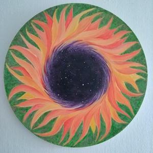 Napraforgó festmény, Akril, Festmény, Művészet, Festészet, 40 cm átmérőjű kör alakú vászonra festett kép, mely első ránézésre egy napraforgót ábrázol, ám ha jo..., Meska
