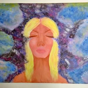 Álmomban festmény (akril), Akril, Festmény, Művészet, Festészet, 50*70 cm nagyságú gfeszített vászonra készült festményem Álmomban címmel. Ahogy a nő alak lehunyja s..., Meska