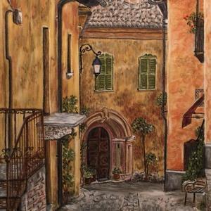 Olasz utcakép (pasztell), Pasztell, Festmény, Művészet, Festészet, Eredeti festmény a művésztől! Eredetigazolással!\nPasztell ceruzával, pasztell papírra készült festmé..., Meska