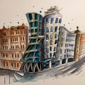 Prague, dancing house vászonfotó vakrámával, Fotográfia, Művészet, Festészet, Vászonfotó az eredeti festményről vakrámával és akasztóval! Csak fel kell akasztanod a felre egy szö..., Meska