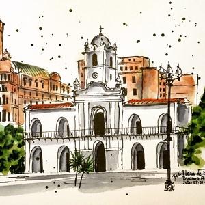 Plaza de Mayo, Buenos Aires, Akvarell, Festmény, Művészet, Festészet, Eredeti akvarell festmény a művésztől! Eredetigazolással!\nA festmény megvásárolható a képen látható ..., Meska
