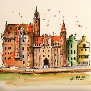 Gdansk, Otthon & lakás, Dekoráció, Kép, Lakberendezés, Falikép, Eredeti akvarell festmény, keret nélkül./ Original watercolour painting without frame. Mérete/Size: ..., Meska