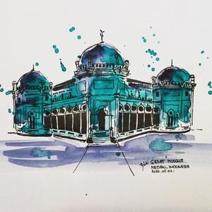 Great Mosque, Medan, Indonesia, Akvarell, Festmény, Művészet, Festészet, Eredeti akvarell festmény a művésztől! Eredetigazolással!\nA festmény megvásárolható a képen látható ..., Meska
