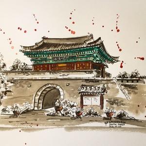Ganghwado, South-Korea, Otthon & lakás, Dekoráció, Kép, Lakberendezés, Falikép, Eredeti akvarell festmény, keret nélkül./ Original watercolour painting without frame. Mérete/Size: ..., Meska