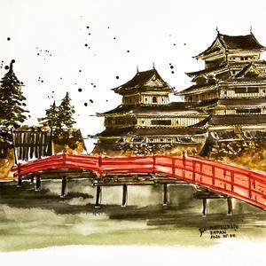 Matsumoto, Japan, Otthon & lakás, Dekoráció, Kép, Lakberendezés, Falikép, Eredeti akvarell festmény, keret nélkül./ Original watercolour painting without frame. Mérete/Size: ..., Meska