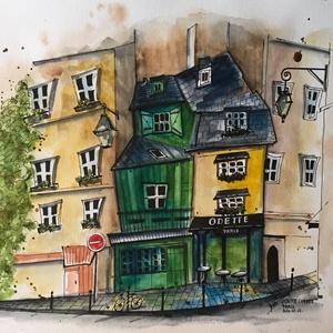 Odette Cafe, Paris, Otthon & lakás, Képzőművészet, Festmény, Dekoráció, Akvarell, Eredeti akvarell festmény, keret nélkül./ Original watercolour painting without frame. Mérete/Size: ..., Meska