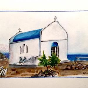 Dia sziget, Görögország, Akvarell, Festmény, Művészet, Festészet, Eredeti akvarell festmény, keret nélkül./\nOriginal watercolour painting without frame.\nMérete/Size: ..., Meska