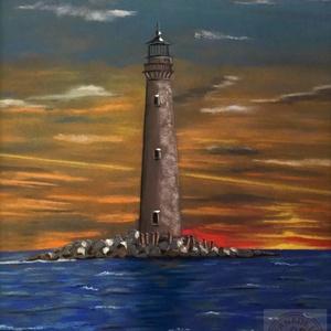 Lighthouse (pasztell), Művészet, Festmény, Pasztell, Festészet, Eredeti festmény a művésztől! \nPasztell technikával, pasztell papírra készült festmény. Mérete keret..., Meska
