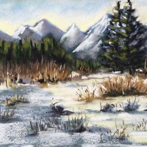Télen, Művészet, Festmény, Pasztell, Festészet, Eredeti pasztell festmény a művésztől, eredetigazolással!\nMérete: \n-keret nélkül: 17x12 cm\n-kerettel..., Meska