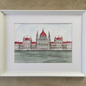Országház 1., Művészet, Festmény, Akvarell, Festészet, Eredeti akvarell festmény a művésztől! Eredetigazolással!\nA festmény megvásárolható a képen látható ..., Meska